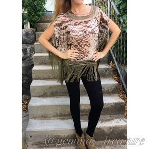 Tops - || SALE || ANIMAL PRINT AND FRINGE TOP ||