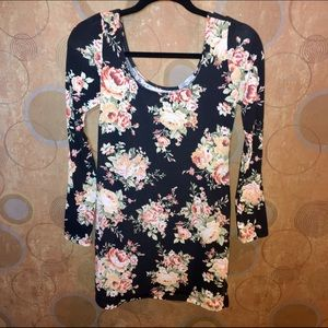 Charlotte Russe floral long sleeve bodycon dress