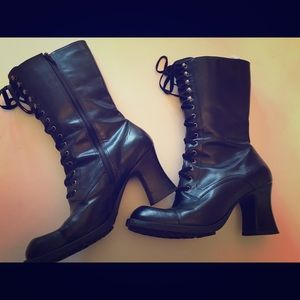Shoes - Leather lace up boots black size 8.5