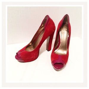 BCBG Dark Red Heels / Peep Toes, Platform Open Toe