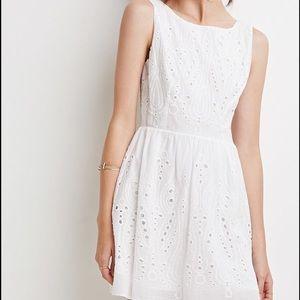 Forever 21 white cutout back eyelet dress