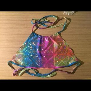 Rainbow hologram tie dye halter top rave