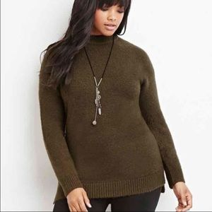 Forever 21 + Olive Green Longline Fuzzy Sweater