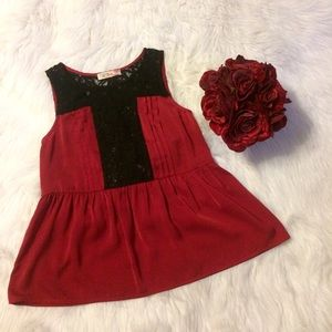 Blossom Clover Red & Black Lace Top
