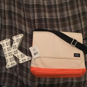 Jack Spade Other - NWT Jack Spade Khaki/Orange Square Messenger Bag
