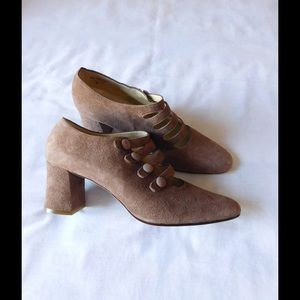 Nine West Shoes - Real Suede! Fancy Tan Booties W/Straps & Buttons