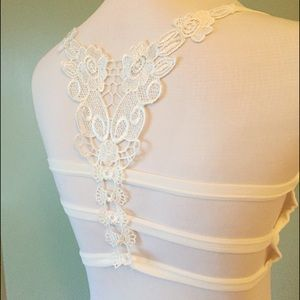 Intimo Other - New white strappy embroidered bralette