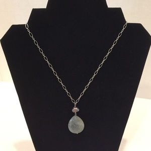Silver tone necklace with green stone/grey pearl