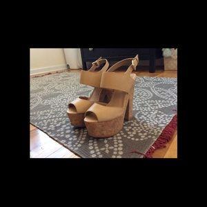 Nude block heels, Aldo 7.5