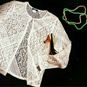 MSK Sweaters - 🎯NWT MSK Lace Lightweight Cardigan Cream