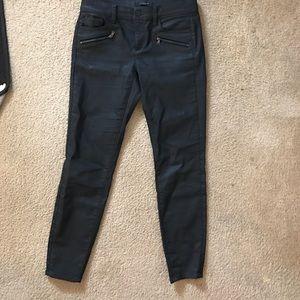 Ann Taylor Coated Black Skinny Jeans