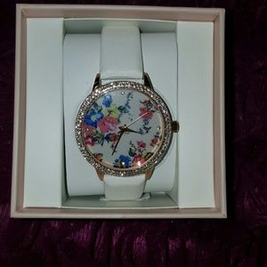 Accessories - Beautiful Floral Watch and Faux Fur Ball Keychain