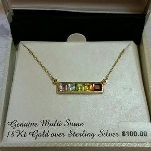 Multi Stone Bar Necklace