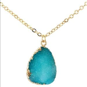 LF Jewelry - Gorgeous Teal Druzy Gold Necklace