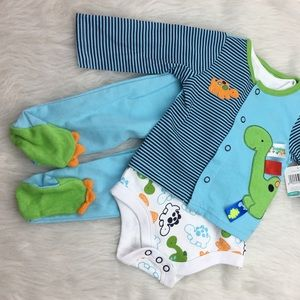Taggies Other - Dinosaur onesie, sweater and footed pants set