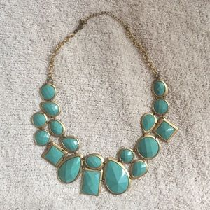 TEAL/GOLD STATEMENT NECKLACE