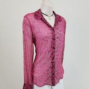 Equipment Tops - Equipment pink silk leopard print top