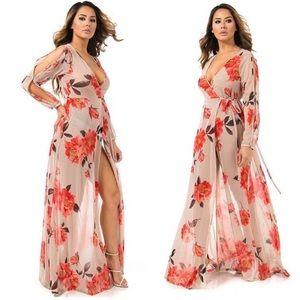 Floral mesh Wrap Long Sleeve Maxi Dress