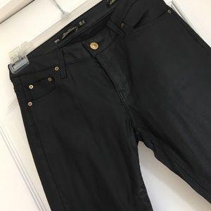 Shiny black pants from Zara.