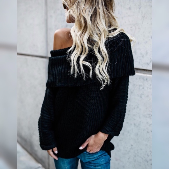 GlamVault Sweaters - Black Chunky Off the Shoulder Black Sweater Top