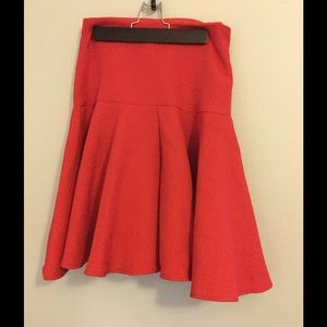 Red Asos Midi skirt, texture, full pleated peplum