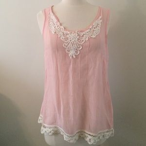 adiva Tops - Boho Light & Flowy Pink top with Lace Detail