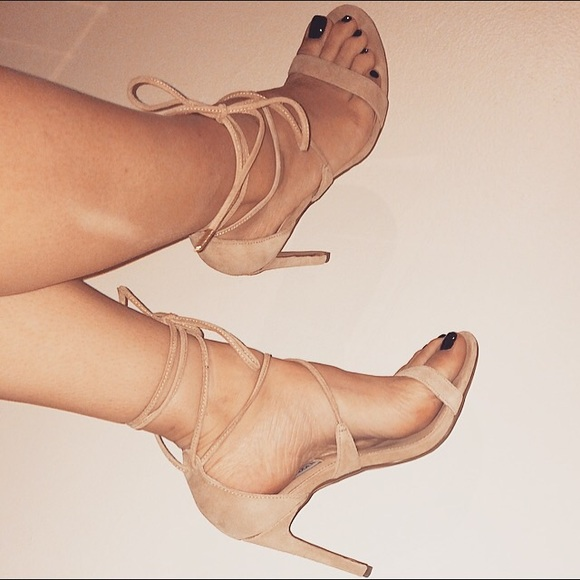 3b7f8f78fa0 Nude Lace up Heels