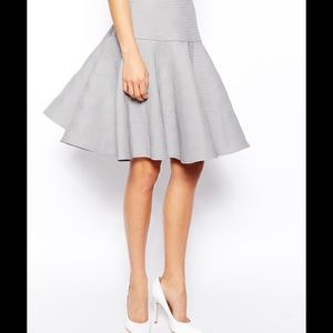 Asos Midi Skirt, Texture, Full Pleated Peplum