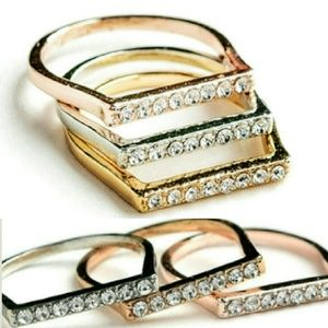 Jewelry - Jewelry | GOLD PAVE CRYSTAL BAR STACKABLE RINGS