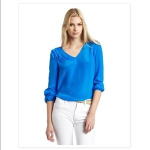 Aryn K Origami detail long sleeve silk blouse