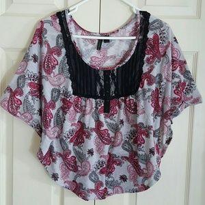 Full Tilt Tops - Full Tilt pretty lace up blouse