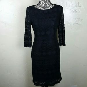🌺 Black Lace Dress by Sharagano Size 10