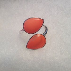  Coral And Silver Plated Fashion Ring