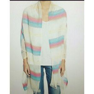 Echo Island stripe Fringe hem wrap scarf sarong