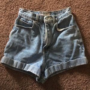 American apparel light wash high waisted shorts