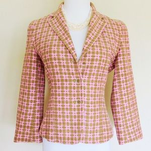 Pink/Olive Colored Textured Blazer