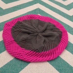 Pink/Gray Color Block Slouchy Knit Beanie