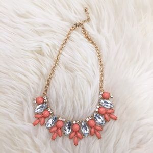 Jewelry - New! Coral & Clear Stone Petal Statement Necklace