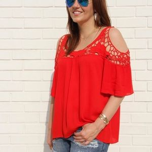 Tops - Red Cold Shoulder Top