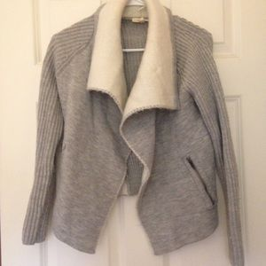 Grey knit sweater cardigan