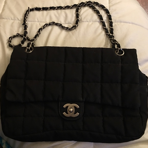 6c7faf104b1 CHANEL Bags | Canvas Quilted Black And Gold Purse | Poshmark