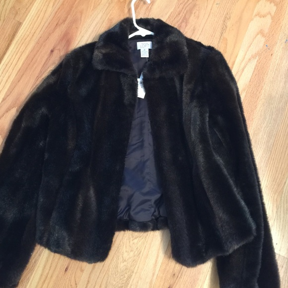 Black faux fur jacket size 8