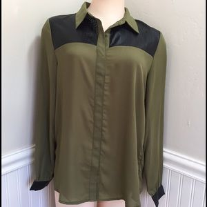 Love Riche Tops - Olive green long sleeve blouse with black PU trim.