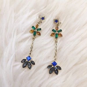 Jewelmint Jewelry - New! Multicolored Stone Petal Drop Earrings