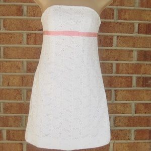 Lilly Pulitzer White Strapless Floral Eyelet Dress
