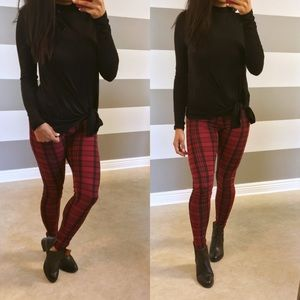 Pants - •NEW• Red berry plaid leggings