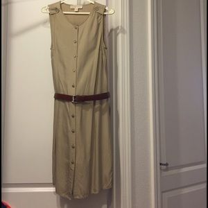 Michael Kors Beige Button Down Belted Dress Small