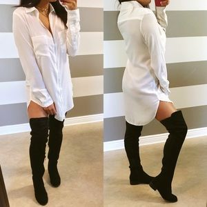 Dresses & Skirts - •LAST• White oversized zip me up tunic shirt dress