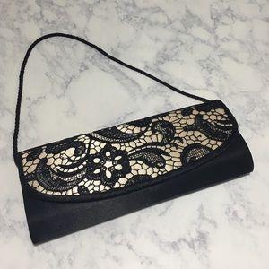 Jessica McClintock Handbags - Black and Cream Lace Clutch Handbag