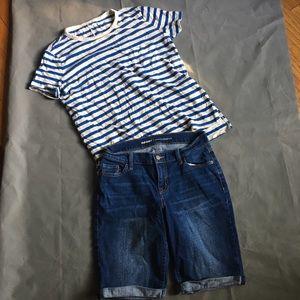 Old Navy Outfit Shirt Small Denim Shorts 2 Bermuda
